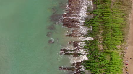 mei : Aerial shot of The green Reef, Taiwan(Lao Mei green rock )