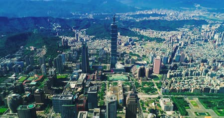 bridge man made structure : Aerial view of cityscape at Taipei center district, Taiwan