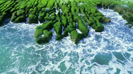labirent : Aerial shot of green Reef in Lao Mei on a Sunny day, Taiwan, New Taipe