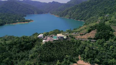 reservoir : Aerial shot of tea plantations landscape in Taipei, Taiwan.