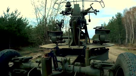 rocket launcher : Anti-aircraft gun of artillery troops Stock Footage