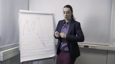 flip chart : Business girl draws on flipchart Stock Footage