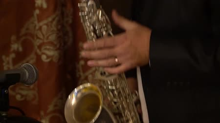 saxofon : The musician plays the saxophone