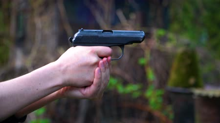 gunshot : A shot from a gun. Stock Footage