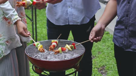 shish : asian people barbecue with friends Stock Footage