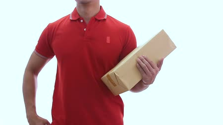 postacı : man holding parcel boxes Stok Video