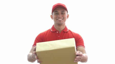почтальон : happy man holding delivery parcel