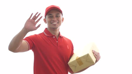 почтальон : delivery man holding parcel while waving his hands