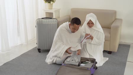 hacı : muslim pilgrims wife and husband prepare item