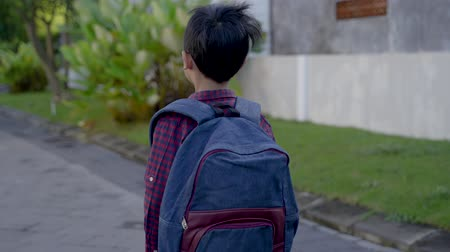 scholar : asian boy student in the morning on the way to school