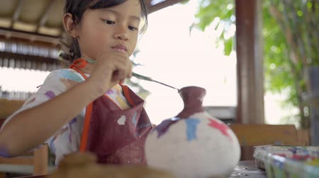 clay pot : asian child painting ceramic pot
