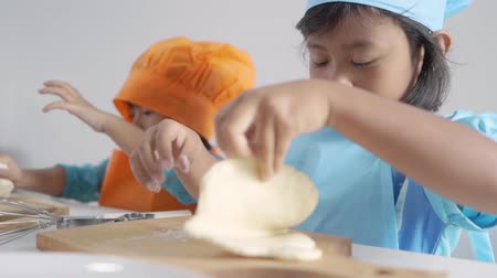 sugar cookies : two girls toddler learn cooking and make some dough