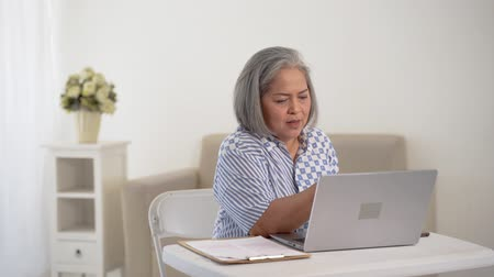 copyspace : Old woman beautiful mature asian woman doing business Stock Footage