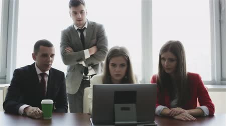 jurist : Working discussions are in the office design agency. Stock Footage