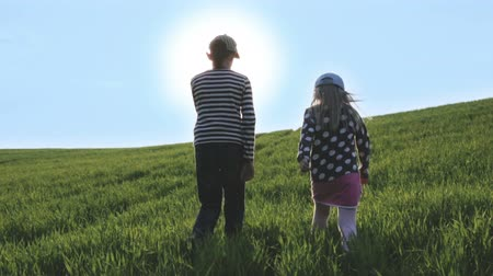 çevre : Boy and girl walking in the rays of the bright sun on a green meadow.