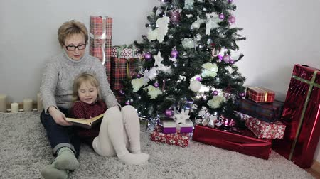 great story : Grandmother is reading a Christmas fairytale for her granddaughter near the Christmas tree.