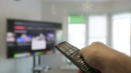 tv screen : Smart tv and  man hand pressing