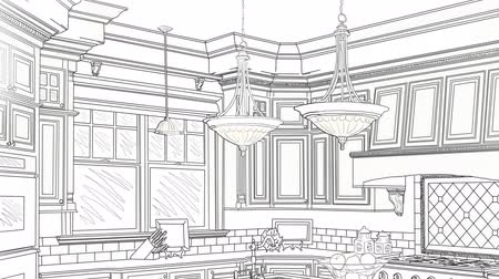 покупатель : Custom Kitchen Drawing Panning to Reveal Finished Design Стоковые видеозаписи