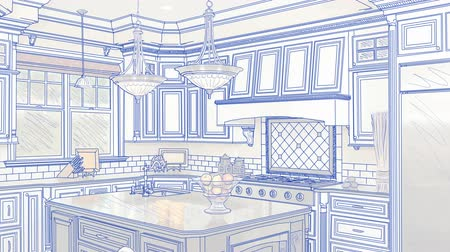 konyhai : Transition Of Beautiful Custom Kitchen From Drawing to Completion. Stock mozgókép