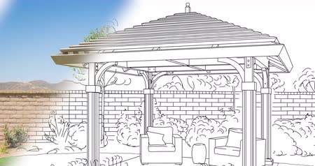 okładka : 4k Custom Pergola Drawing Transitioning to Photograph.