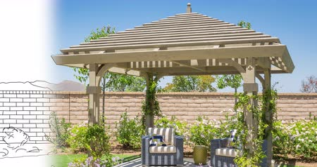 gradace : 4k Custom Pergola Drawing Transitioning to Photograph.