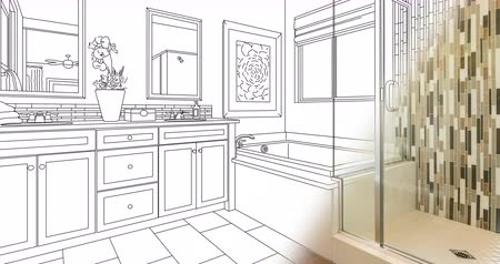 4k Custom Bathroom Drawing Transitioning to Photograph.