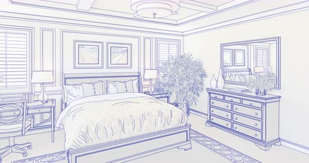 realty : 4k Custom Master Bedroom Drawing Transitioning to Photograph.