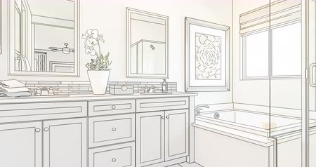 rebuild : 4k Custom Bathroom Drawing Transitioning to Photograph.