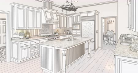 rebuild : 4k Custom Kitchen Drawing Transitioning to Photograph. Stock Footage