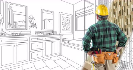 faca : 4k Looping Cinemagraph of Contractor in Hard Hat Facing Drawing of Bathroom Design Transitioning to Photo.
