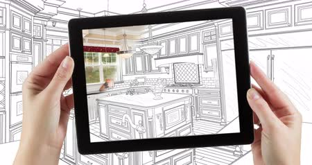 dizayn : 4k Looping Cinemagraph of Computer Tablet With Kitchen Design Drawing Transitioning to Photo