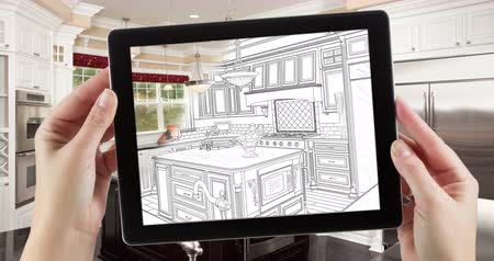 şematik : 4k Looping Cinemagraph of Computer Tablet With Kitchen Design Drawing Transitioning to Photo