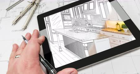 szkic : 4k Looping Cinemagraph of Hand on Computer Tablet with Kitchen Drawing Transitioning to Photo