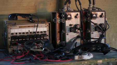 old radio : Military field telephone switchboard used for military Stock Footage