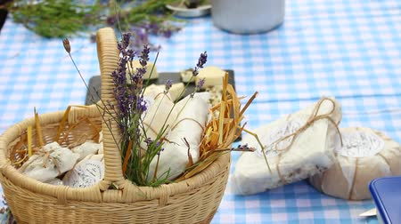 фета : Homemade Goat Cheese In A Basket. Farmers Market on the street. Dairy