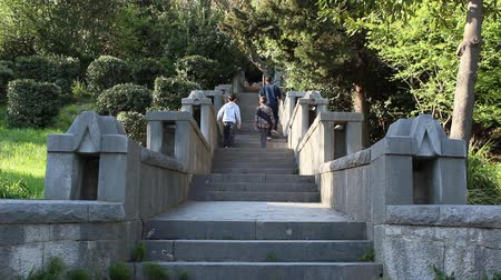 taş duvar : Stone Stairs In The Old Park. A man and two boys go up the old stone stairs