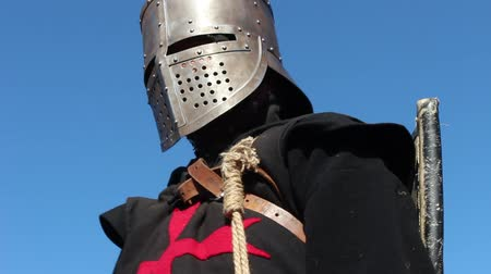 old times : Crusader close up. Medieval Knight. Blue Sky Background