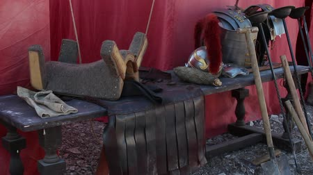 legion : Roman Legionary Equipment. The weapons and the armor. The Roman legionary fortified camp Stock Footage