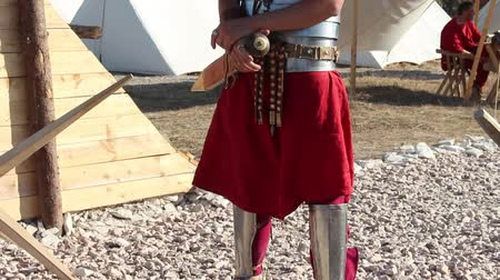 legion : Roman Legionary Soldier. Tilt Up. The Roman legionary was a professional heavy infantryman of the Roman armylegionary soldiers equipment Stock Footage