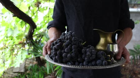 кувшин : Hand Of The Man With A Jug Of Wine And Grapes On A Salver