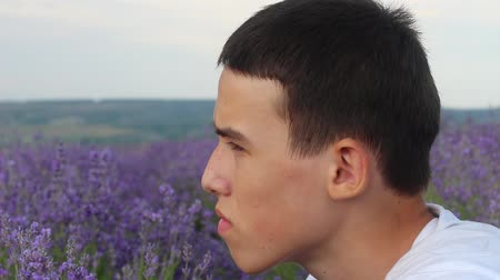 wistful : Portrait of a brunette young man in nature. Teenager Alone In A Lavender Field