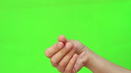 nonverbal : Hand Gesture. Isolated. Green Screen Chromakey