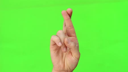 finom : To cross ones fingers. Hand Gesture. Isolated. Green Screen Chromakey