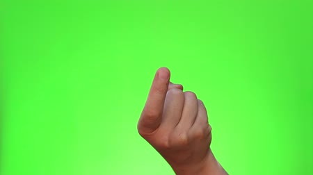 beckoning : Beckoning finger. Single handed gesture. Chromakey. Green Screen. Isolated