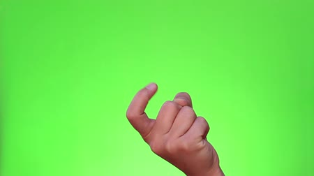 pięśc : Beckoning finger. Single handed gesture. Chromakey. Green Screen. Isolated