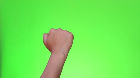 nonverbal : Hand knocking on the green screen. Single handed gesture. Chromakey. Isolated