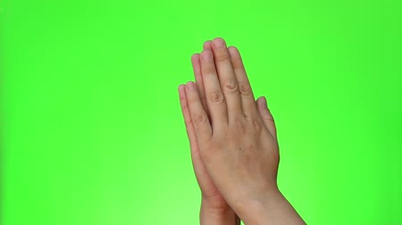 pleading : Pleading Hands. Two handed gestures. Chromakey. Green Screen. Isolated Stock Footage
