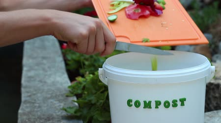 ás : Organic kitchen wasted for composting. Kitchen scraps in recycling bin at home Stock Footage
