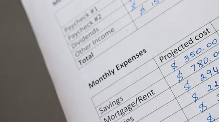 kontrol listesi : Monthly expenses. Mortgage, rent, property taxes, strata fee, house insurance, utility bills (cable, cell, electricity, water), car loan payment, life insurance, bank fees,