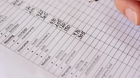 kontrol listesi : Household Budget Worksheet. Family spending and money saving